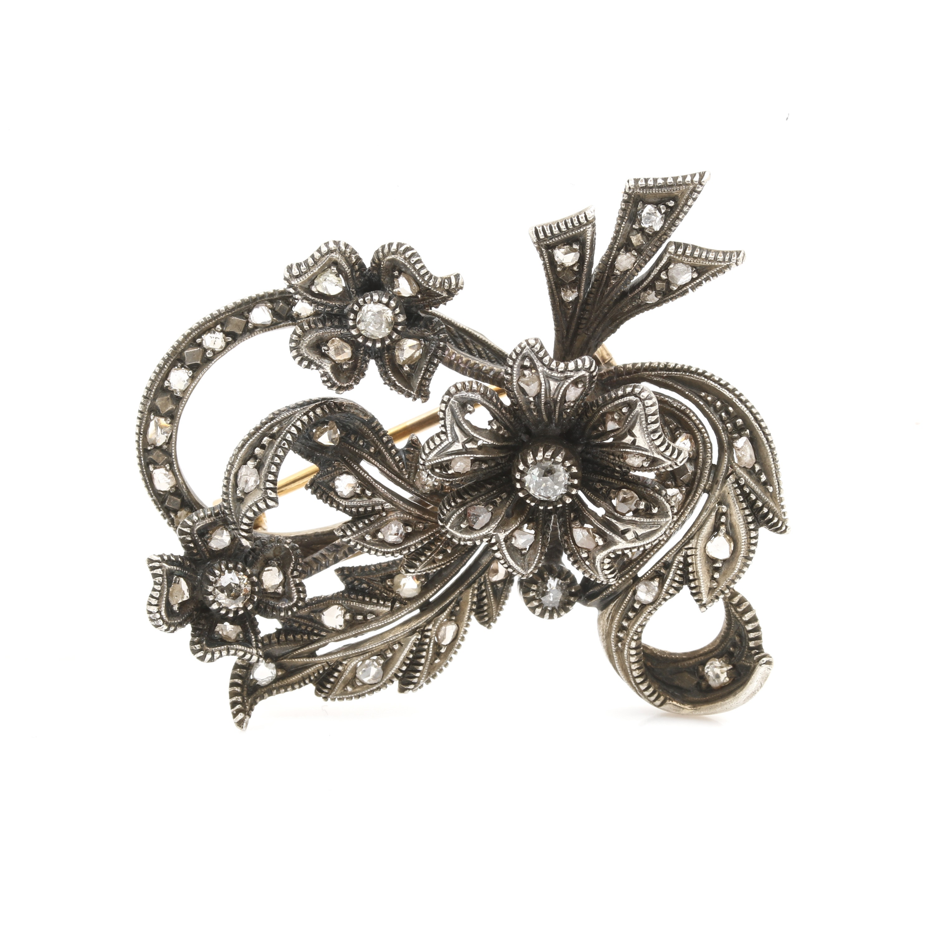 Georgian Sterling Silver and 18K Yellow Gold Diamond Brooch