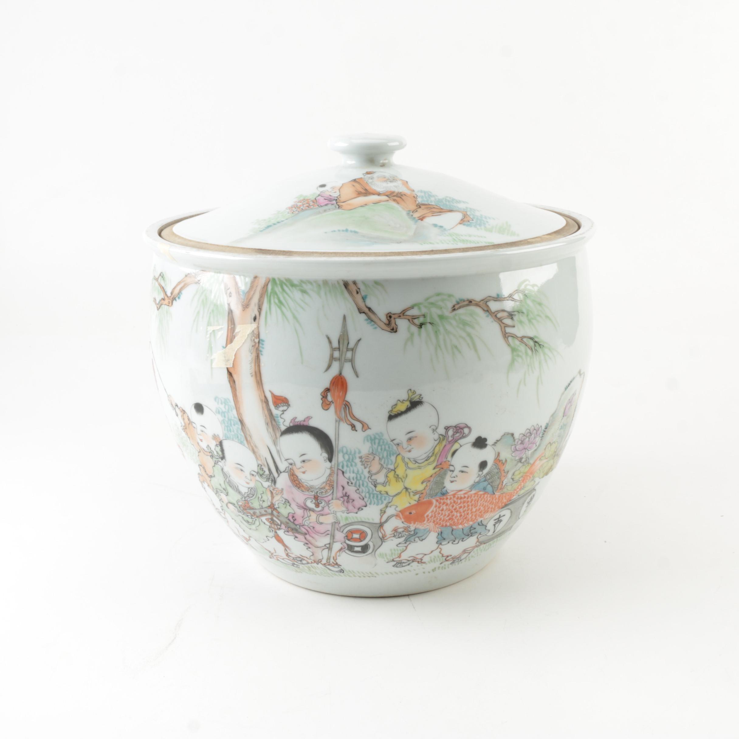 Chinese Porcelain Lidded Jar with Figural Motif