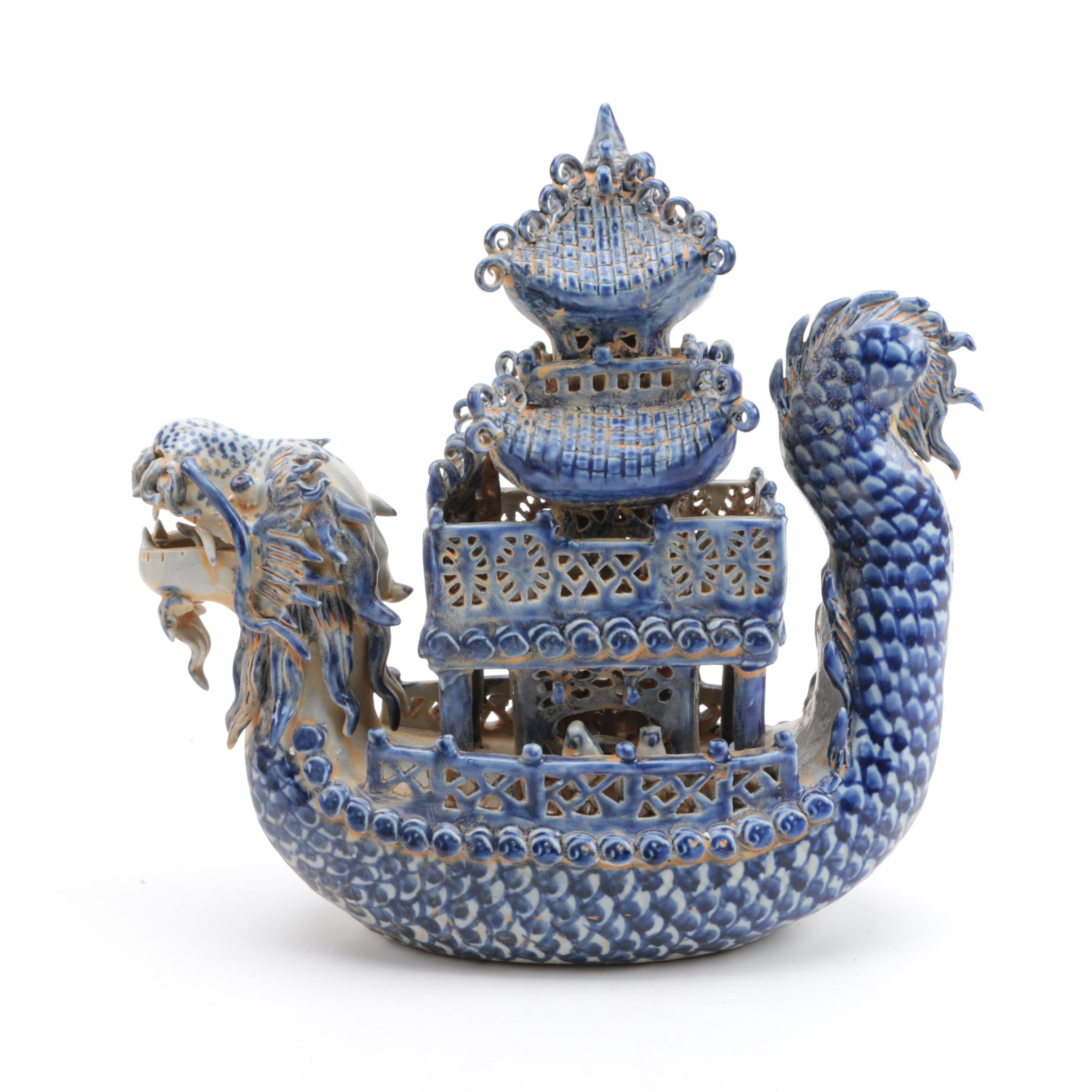 Chinese Porcelain Dragon Boat