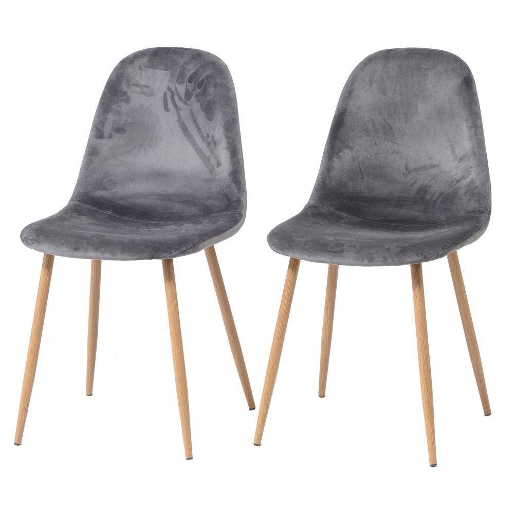 Modern Eames Style Velvet Upholstered Side Chairs