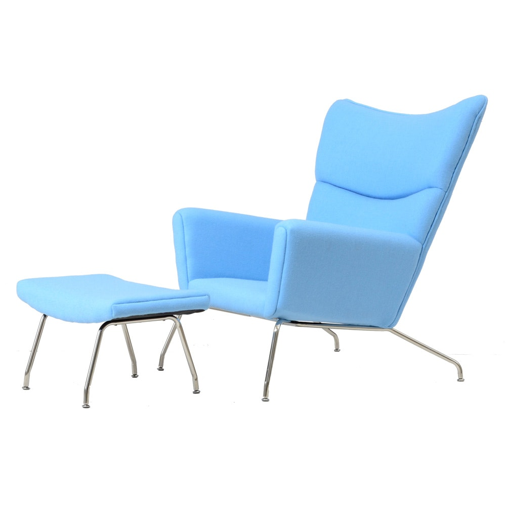 Mid Century Modern Wegner Style Lounge and Ottoman