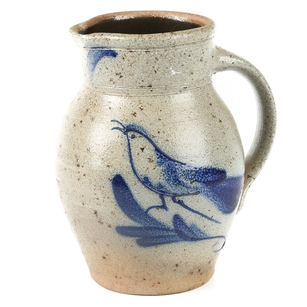 Hand-Thrown Rowe Pottery Works Stoneware Pitcher