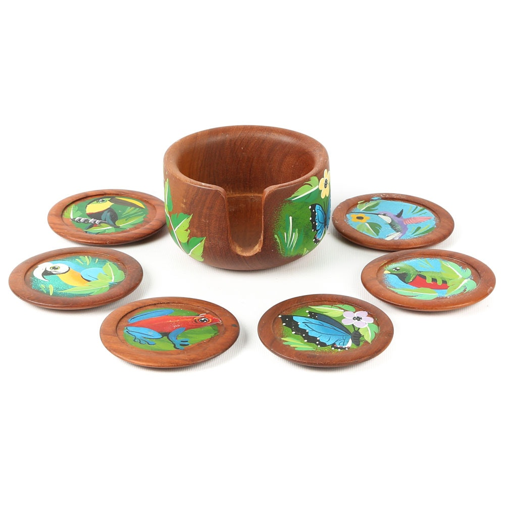 Hand-Painted Costa Rican Coaster Set