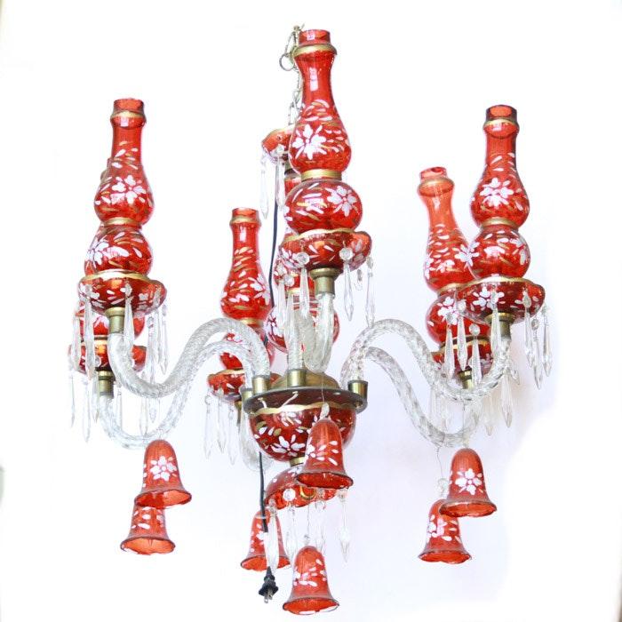 Red Bohemian Glass Chandelier