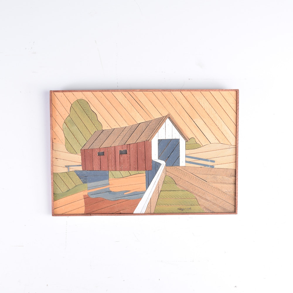 Theodore DeGroot Lath Art Wall Hanging of Covered Bridge