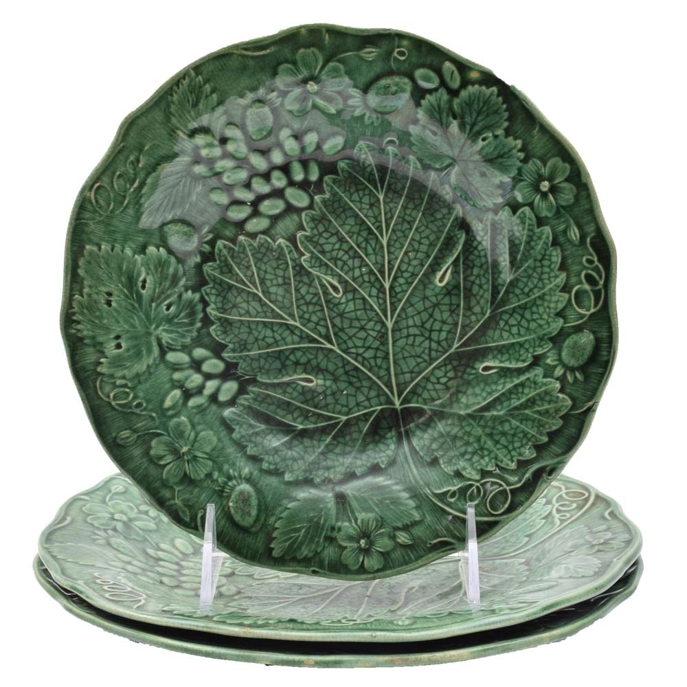 Antique Till Majolica Grape Leaf Plates