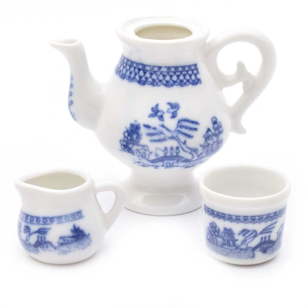 "Miniature ""Blue WIllow"" Blue and White Ceramic Tea Set"