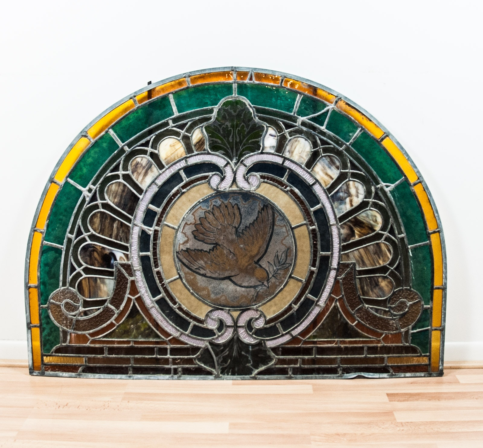 Demilune Stained Glass Window Panel