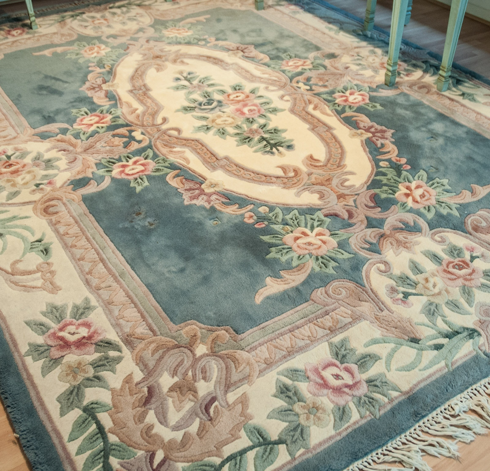 Tufted and Carved Wool Pile Savonnerie-Style Area Rug