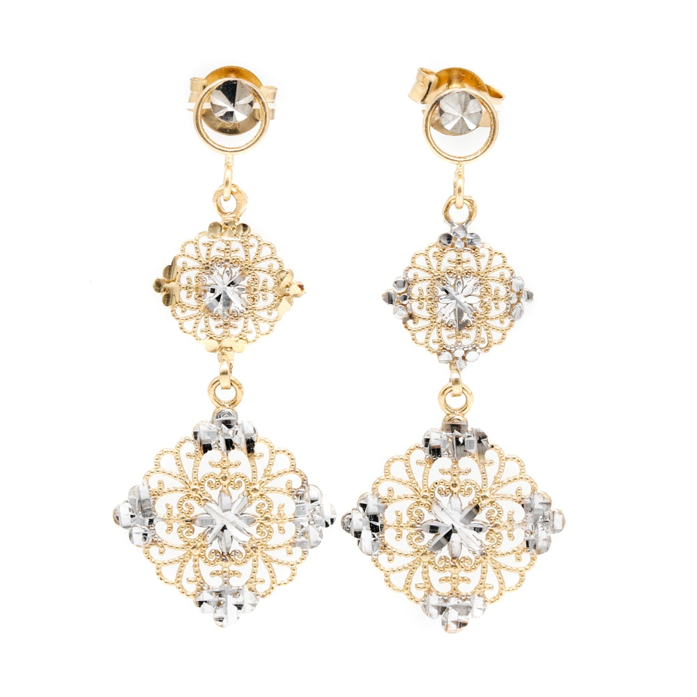 14K White and Yellow Gold Drop Earrings