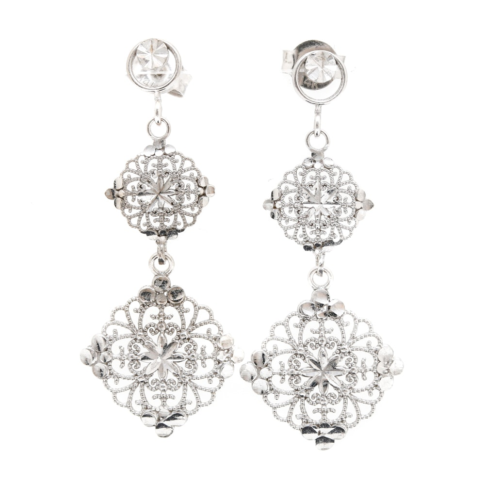 14K White Gold Drop Earrings