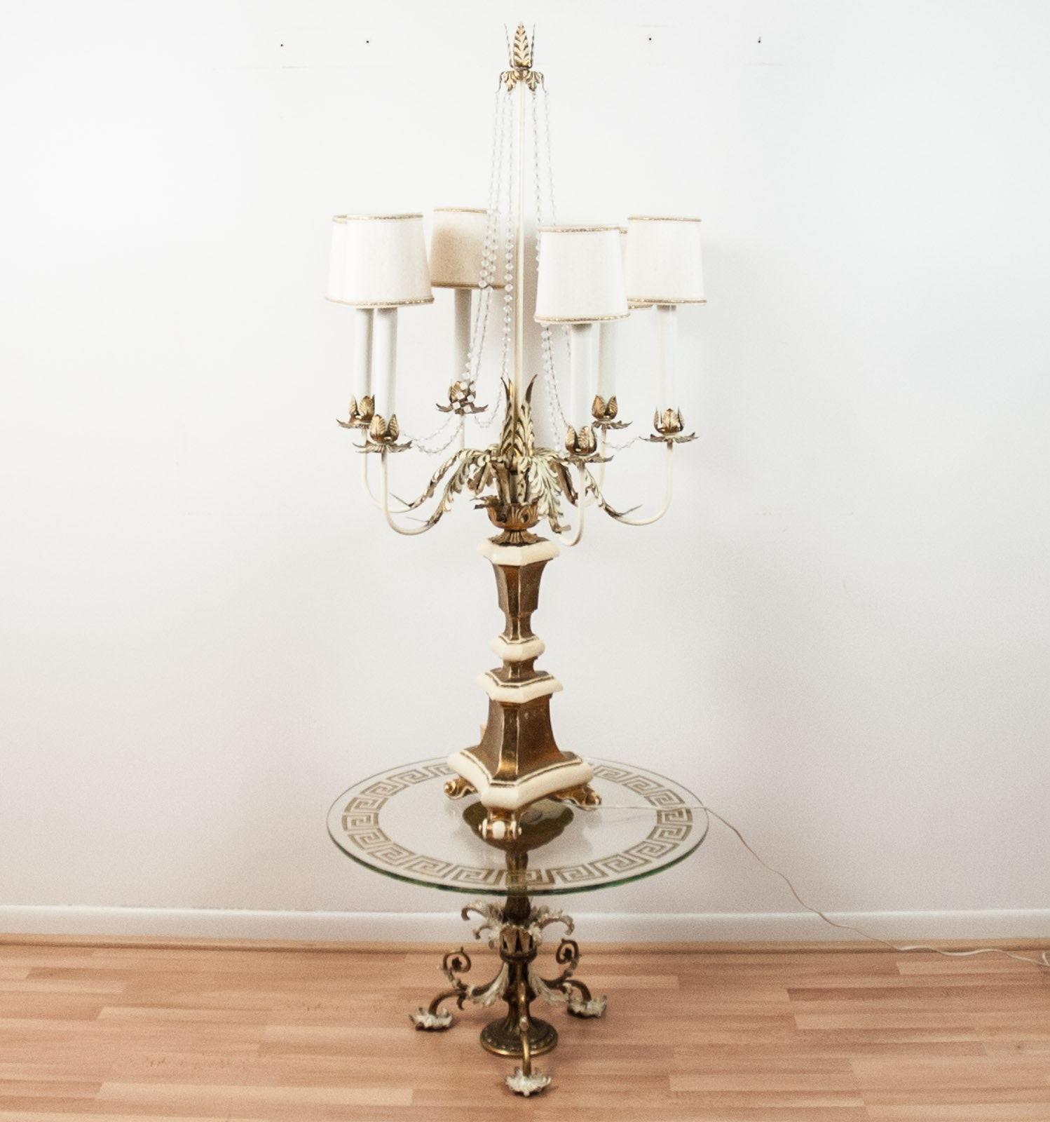 Chandelier Table Lamp and Side Table