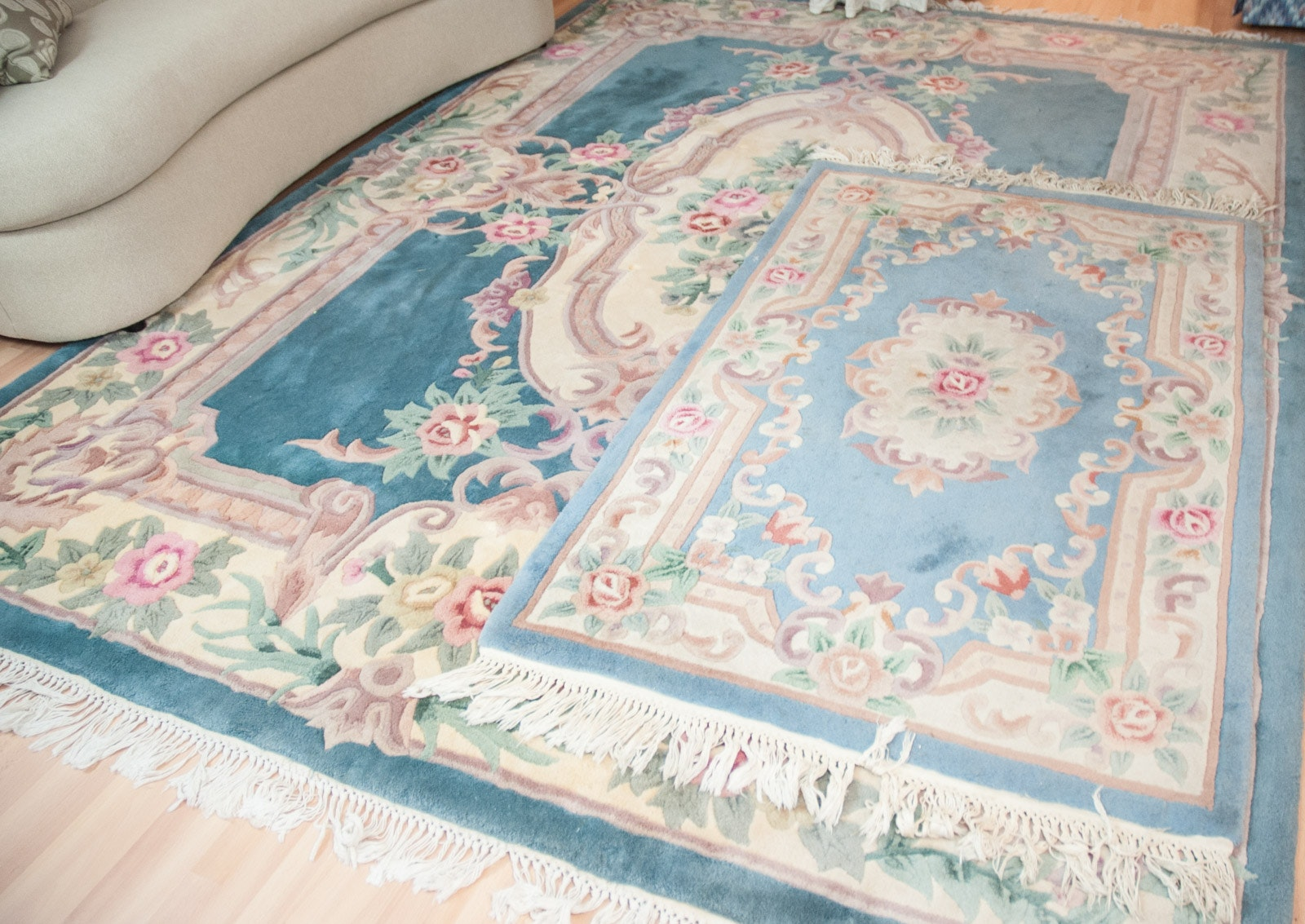 Tufted and Carved Chinese Wool Pile Savonnerie-Style Area Rugs