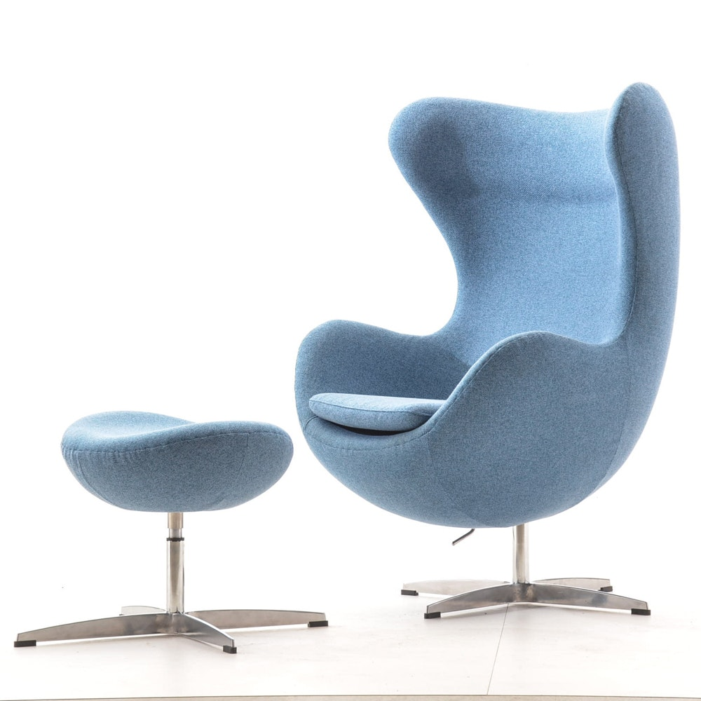 Mid Century Modern Style Egg Chair And Ottoman ...