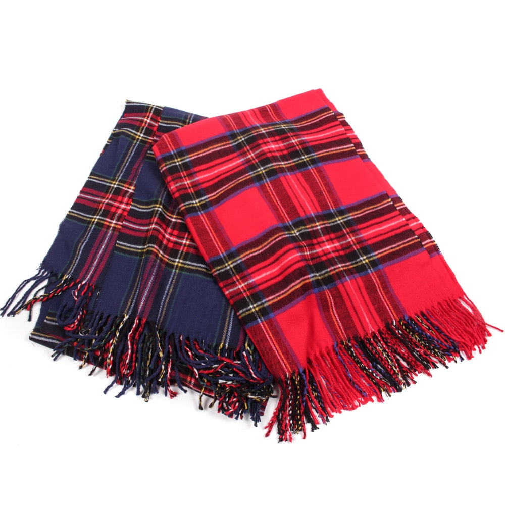 Royal Rossi Plaid Cashmere Scarves