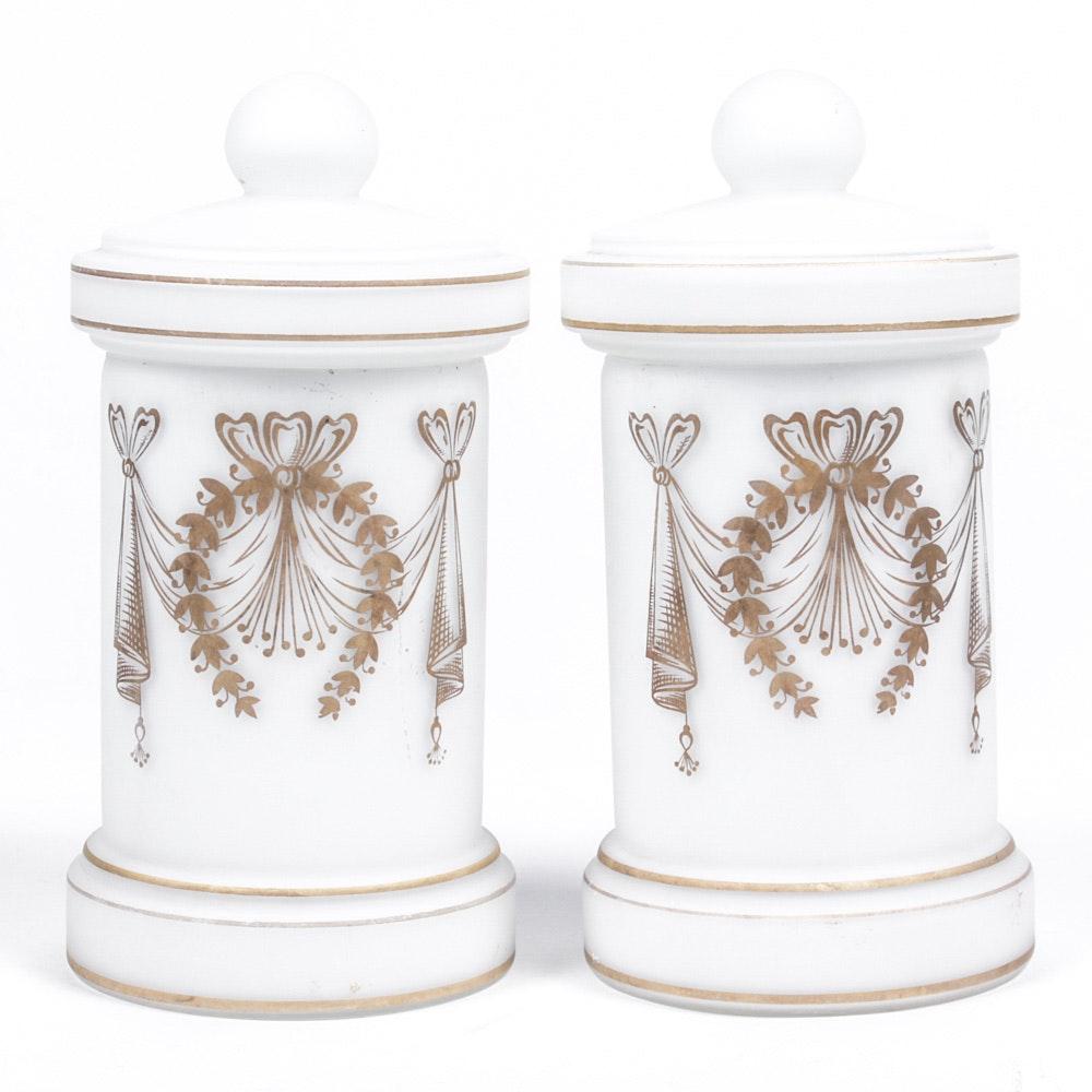 Satin Glass Dresser Jars