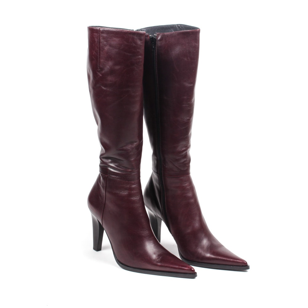 Façonnable Burgundy Leather Boots