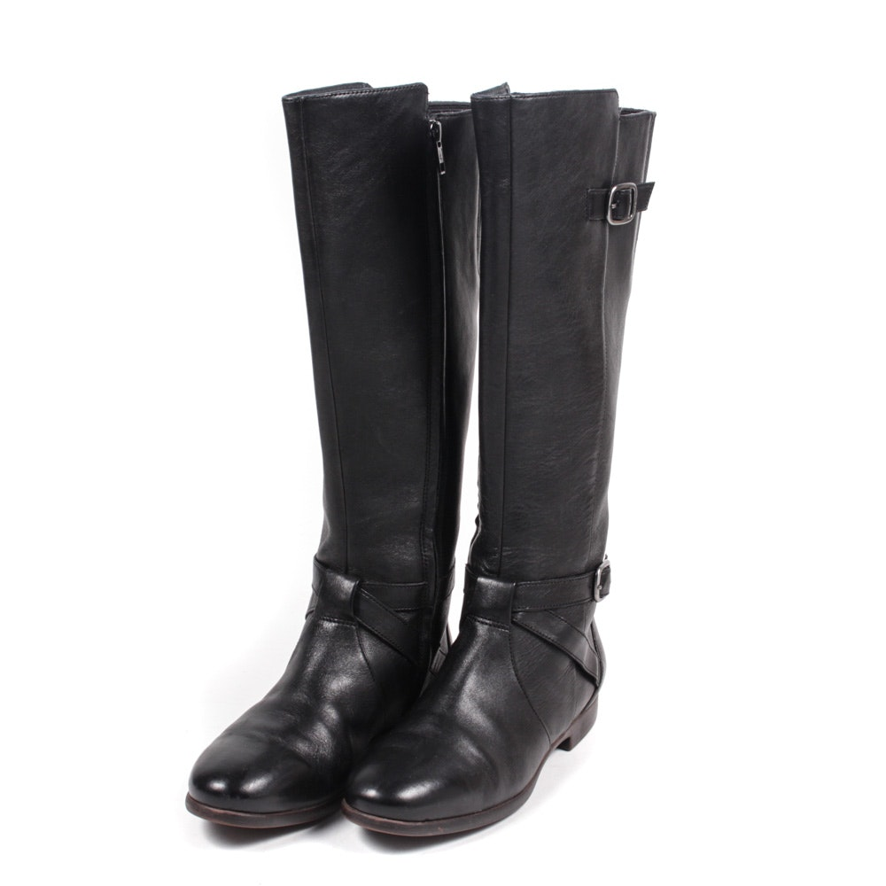 Women's Ugg Black Leather Riding Boot
