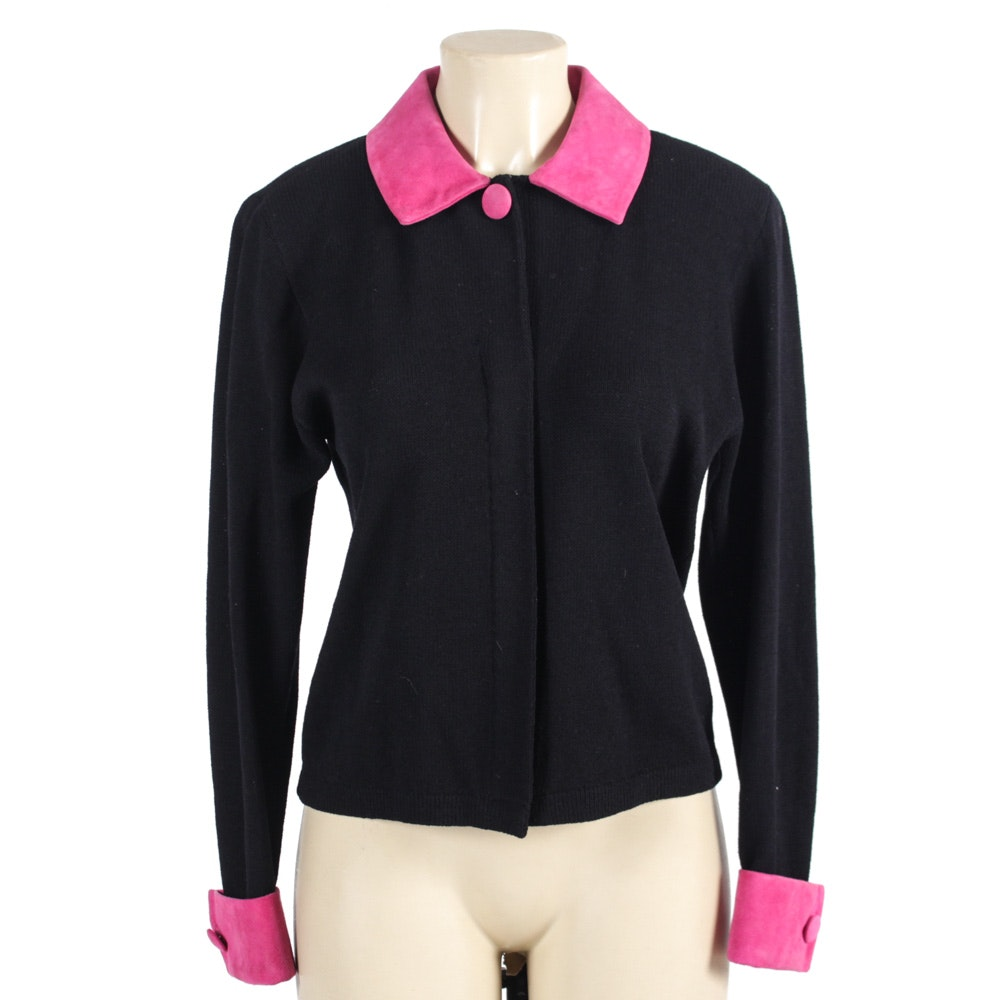 St. John by Marie Gray Black Knit Button-Front Jacket with Pink Suede Trim