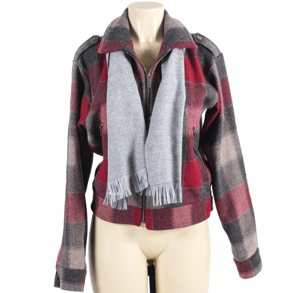 Pendleton Wool Bomber Jacket and Scarf