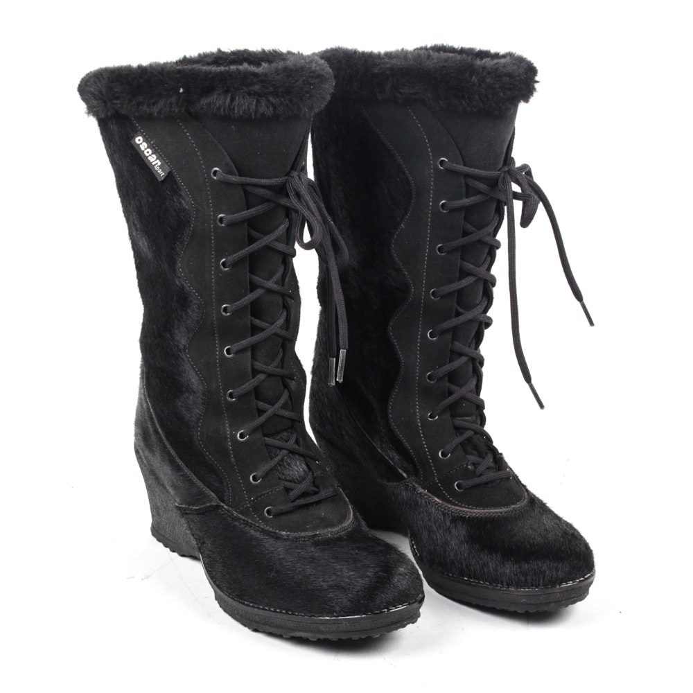 Women's Oscar de la Renta Sport Black Goat Fur Lace-Up Boots