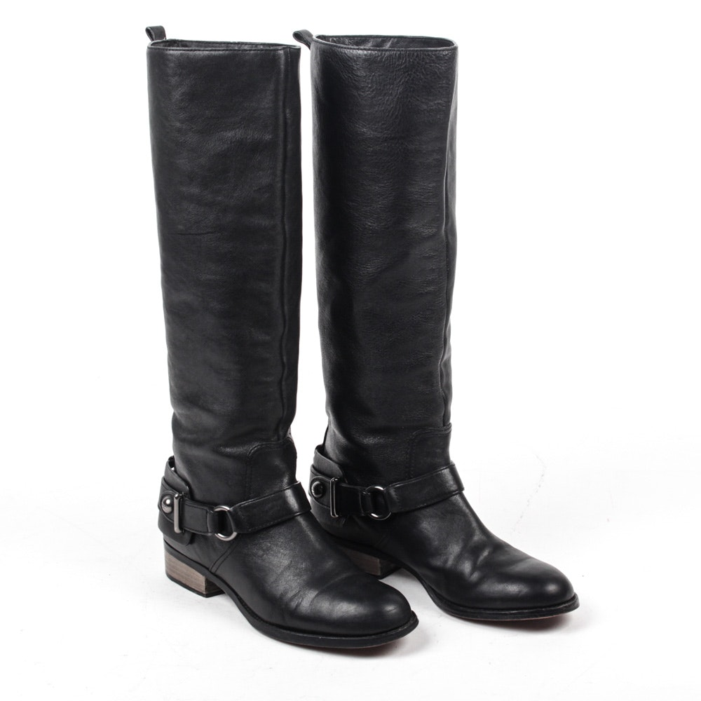 Coach Black Leather Natale Riding Boots