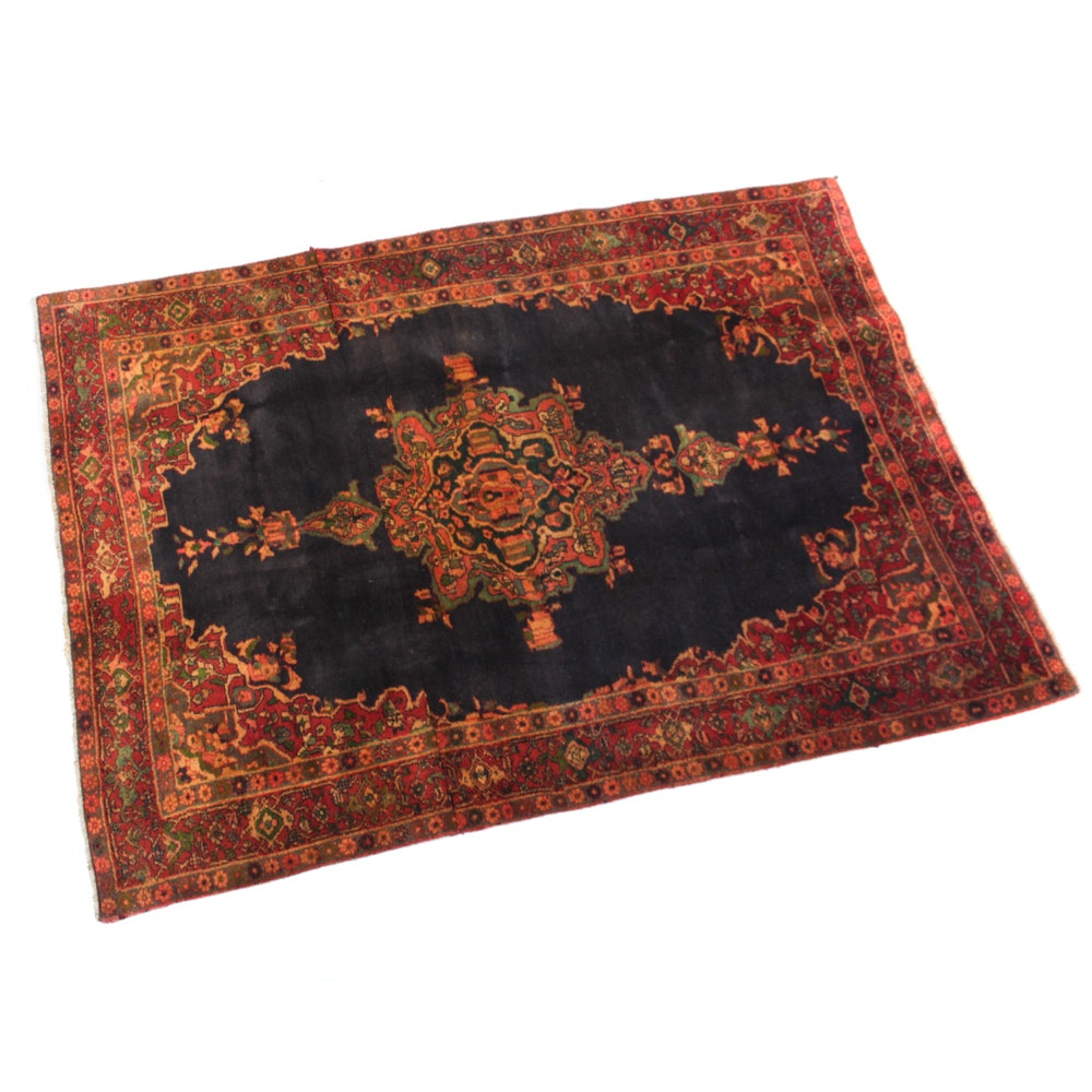 Semi-Antique Hand-Knotted Persian Bijar Rug