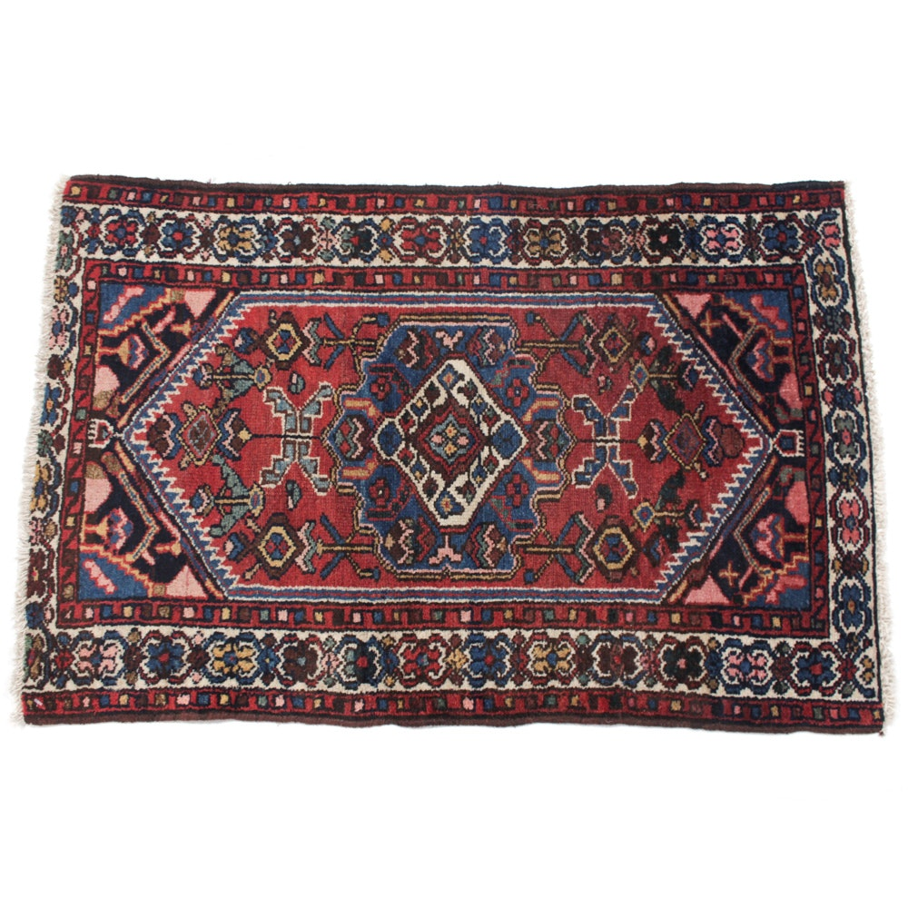 Antique Hand-Knotted Persian Malayer Accent Rug