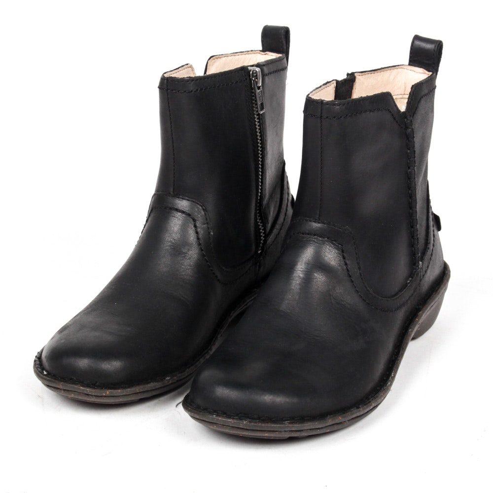Women's Ugg Black Leather Ankle Boots