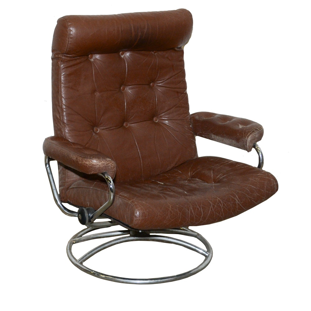 Vintage Modern Leather Ekhornes Style Office Chair