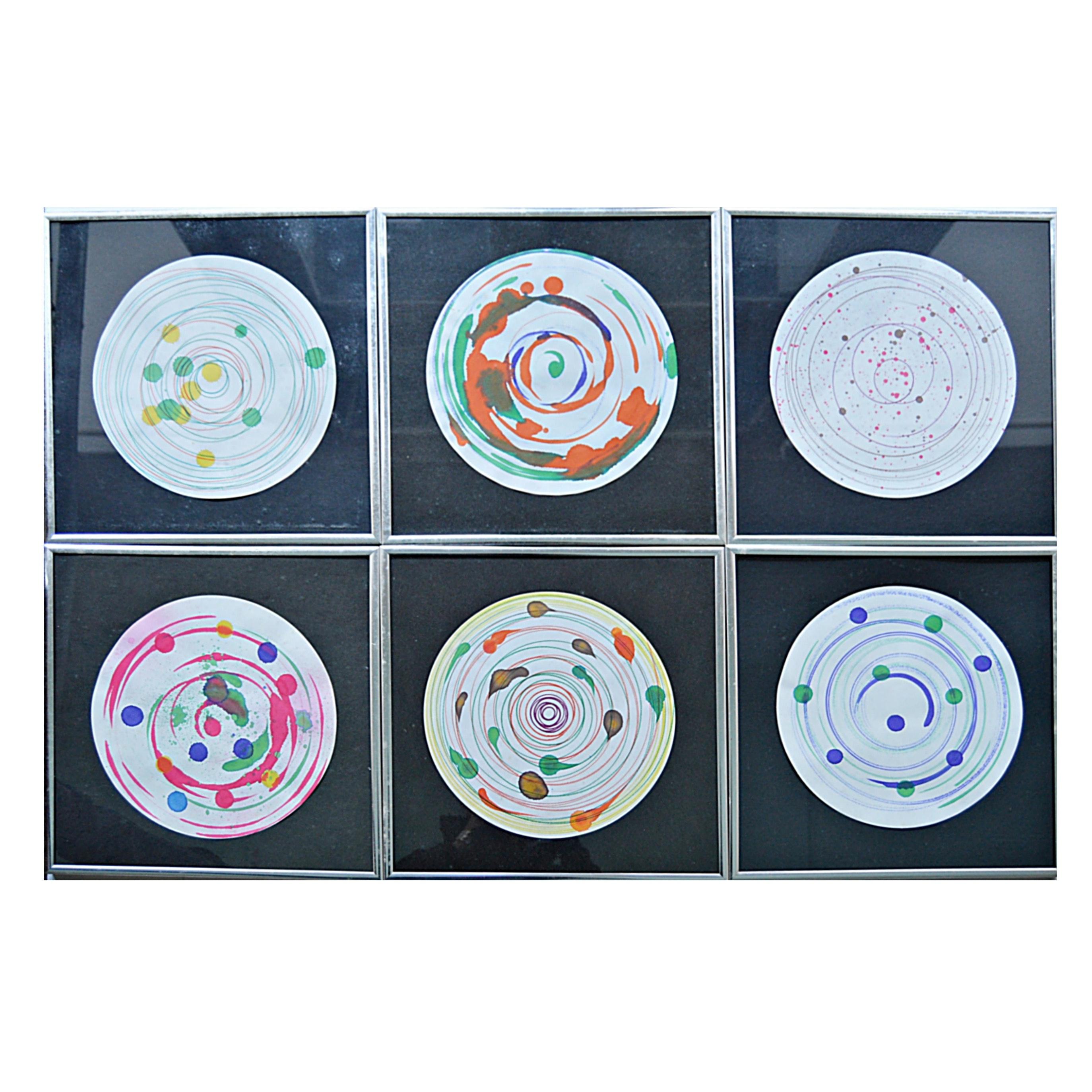 Group of Framed 1970s Spin Art