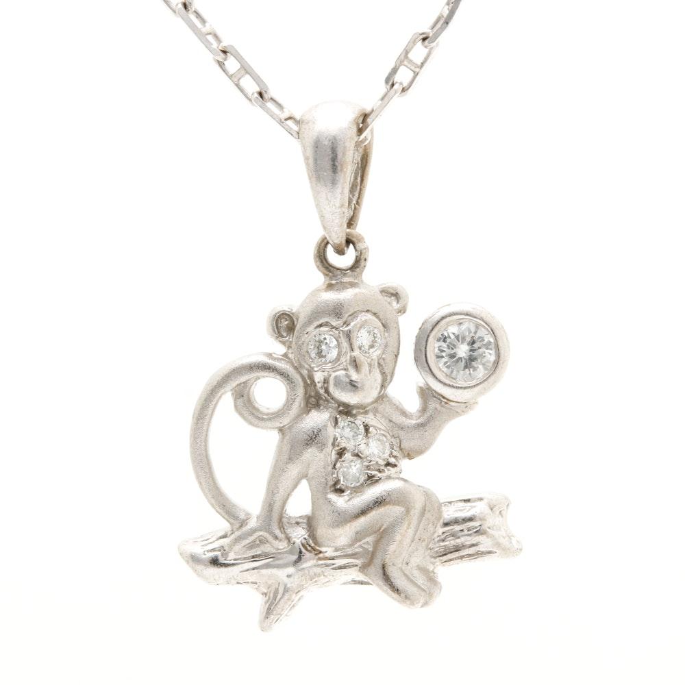 18K White Gold Diamond Monkey Pendant Necklace
