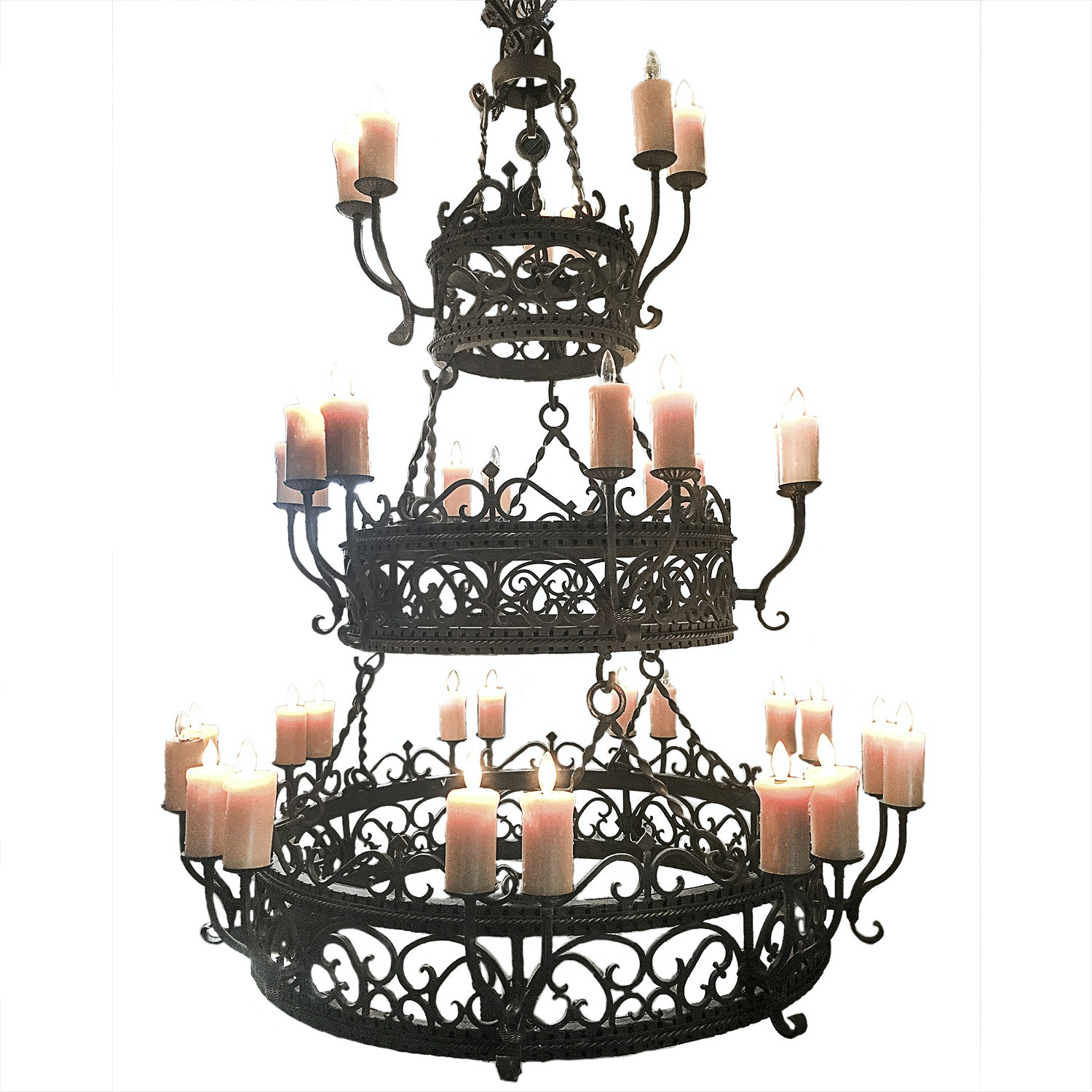Large Wrought Iron Three Tiered Chandelier