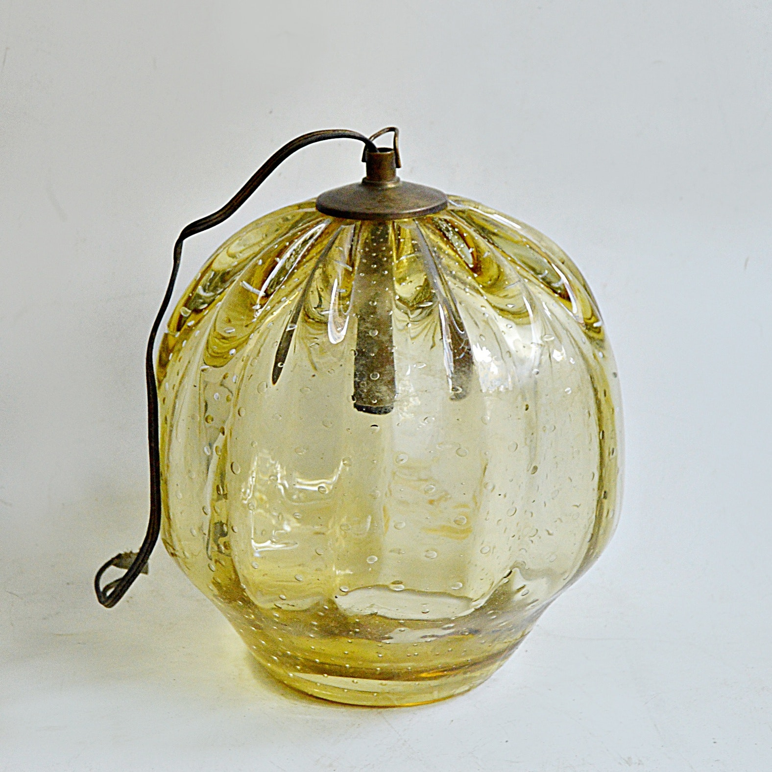Mid Century Italian Hand Blown Amber Glass Light Pendant