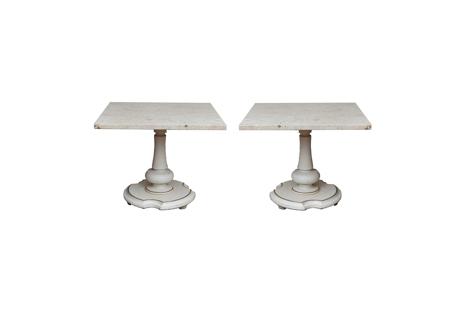 Pair of Hollywood Regency Travertine Marble End Tables