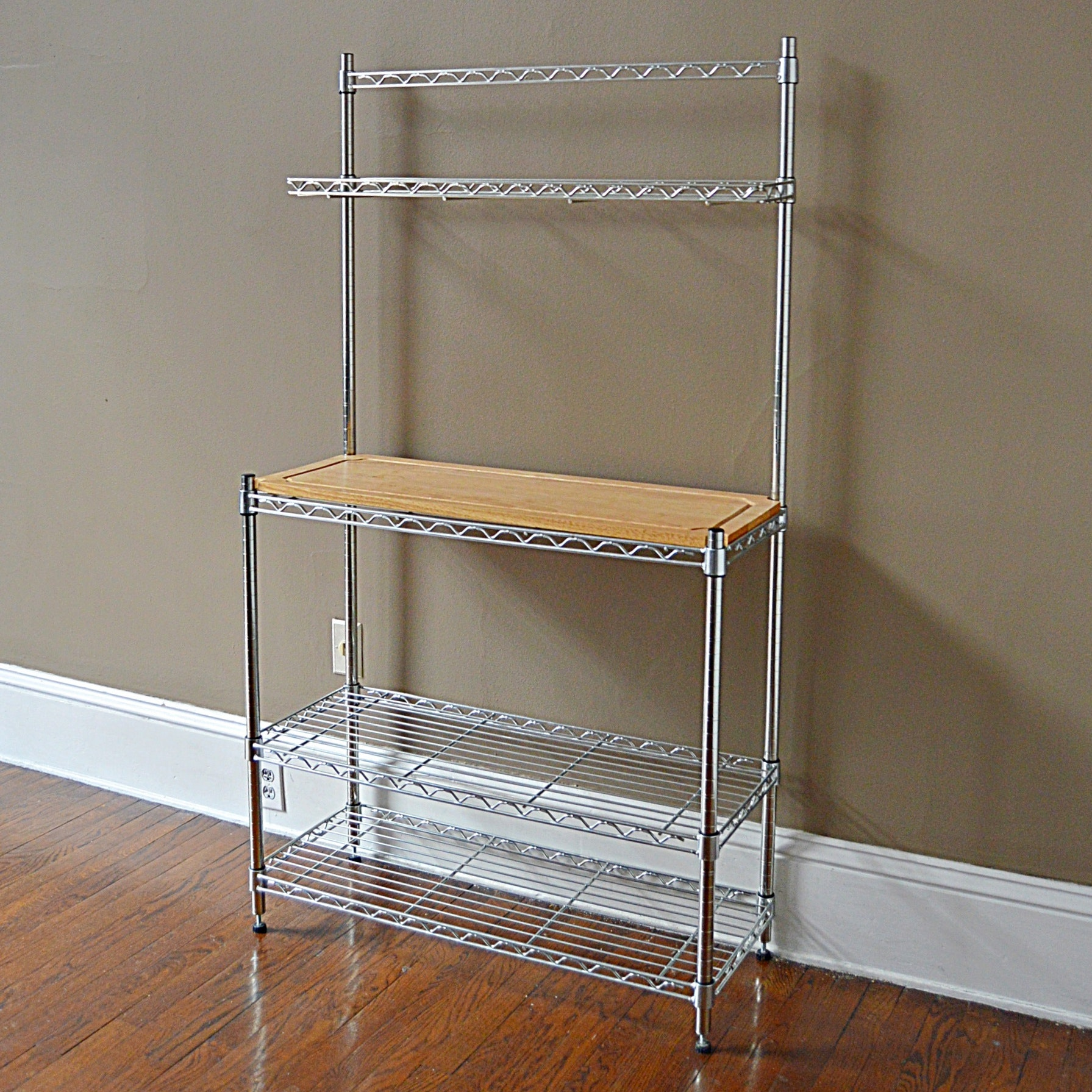 Contemporary Industrial Chrome Shelving Unit with Wood Shelf