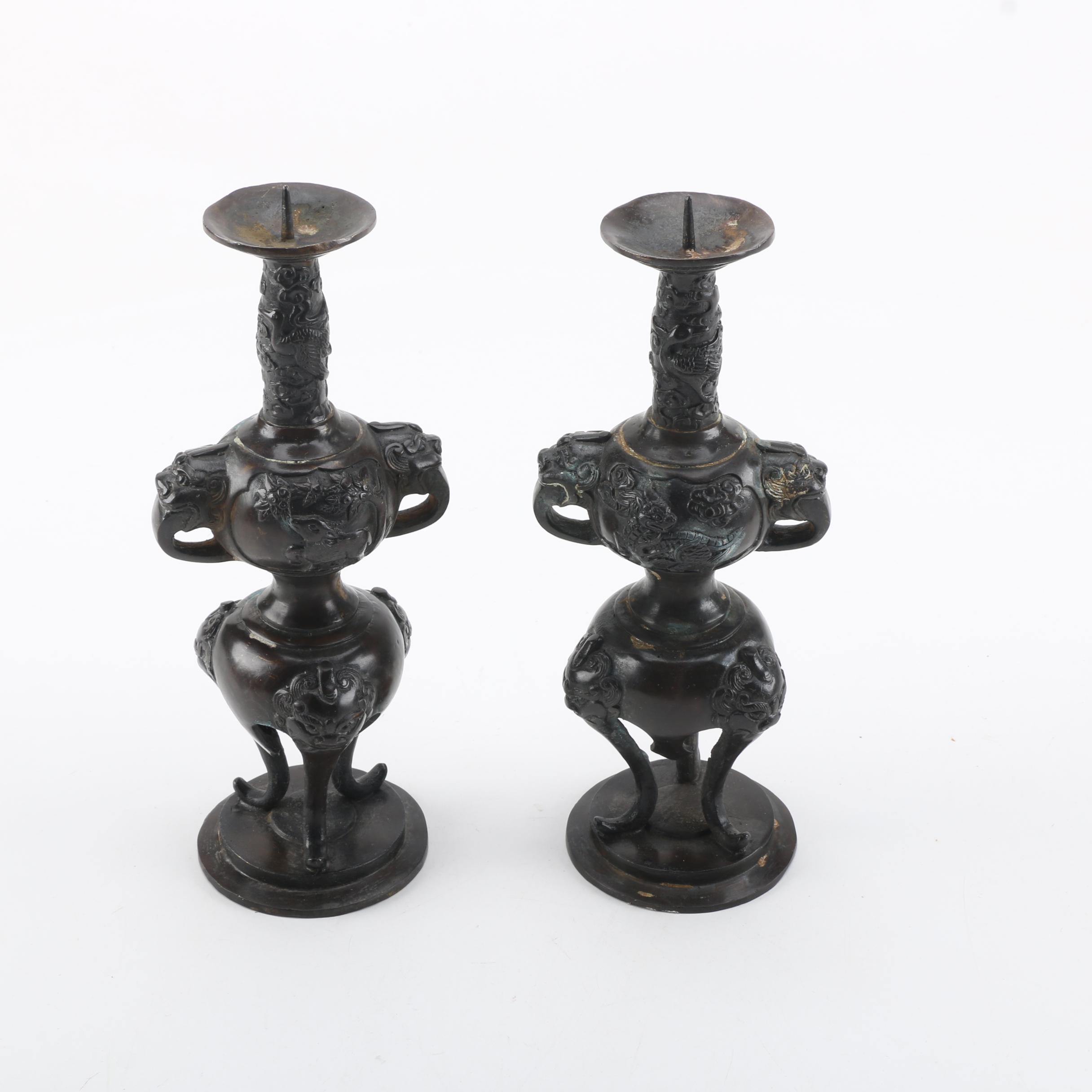 Chinese Candlesticks with Dragon Motif