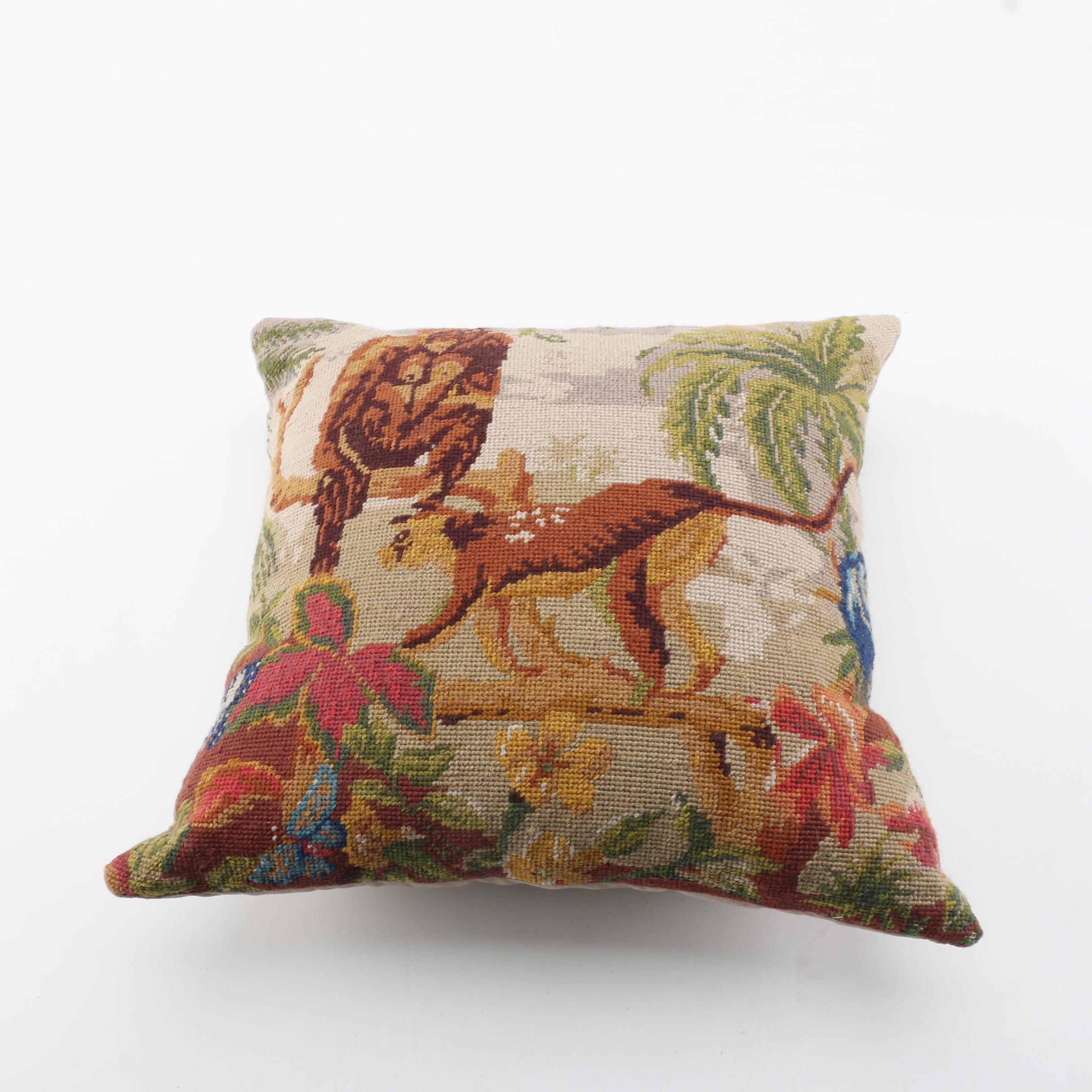Needlepoint Monkey Themed Accent Pillow