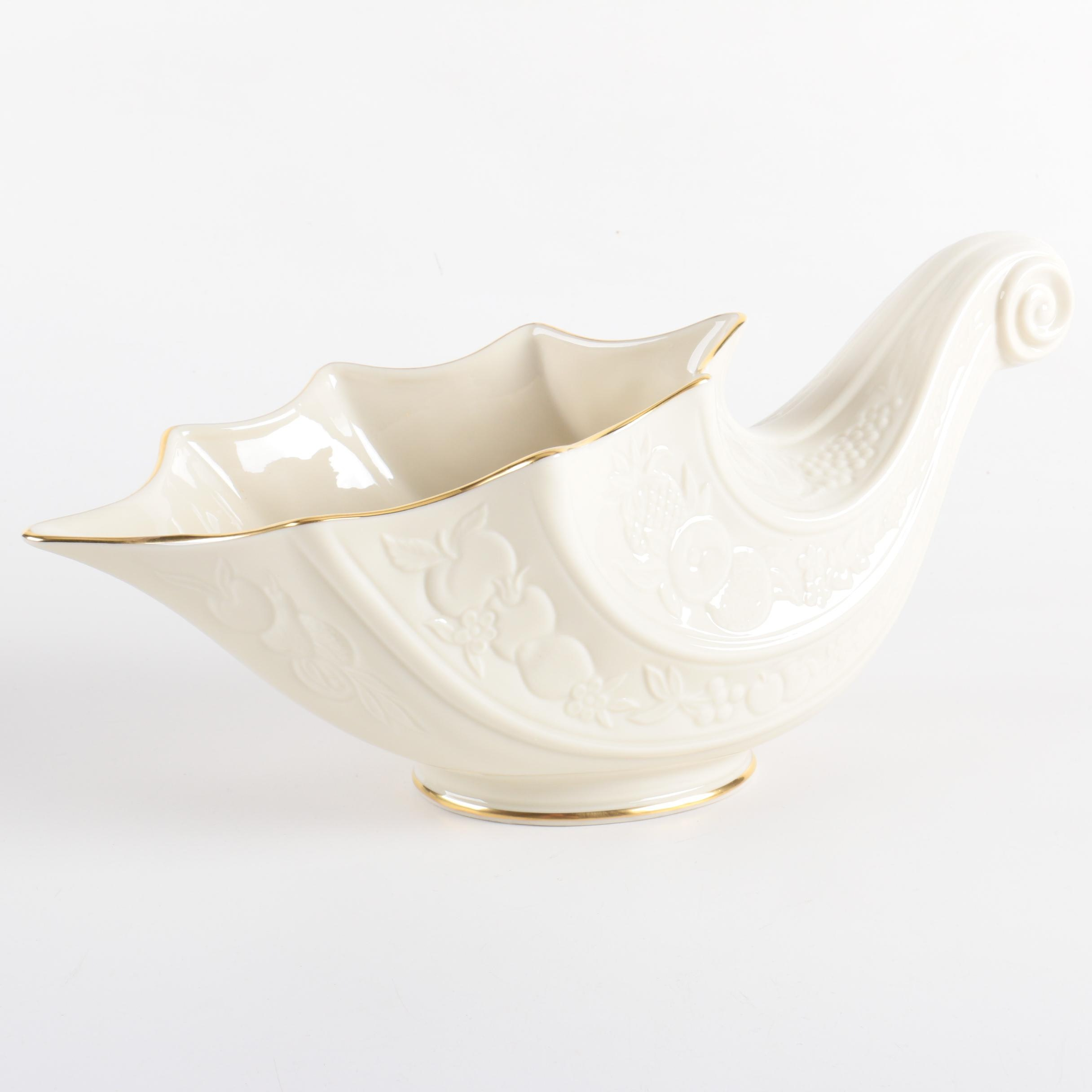 "Lenox ""Fruits of Life"" Porcelain Cornucopia"