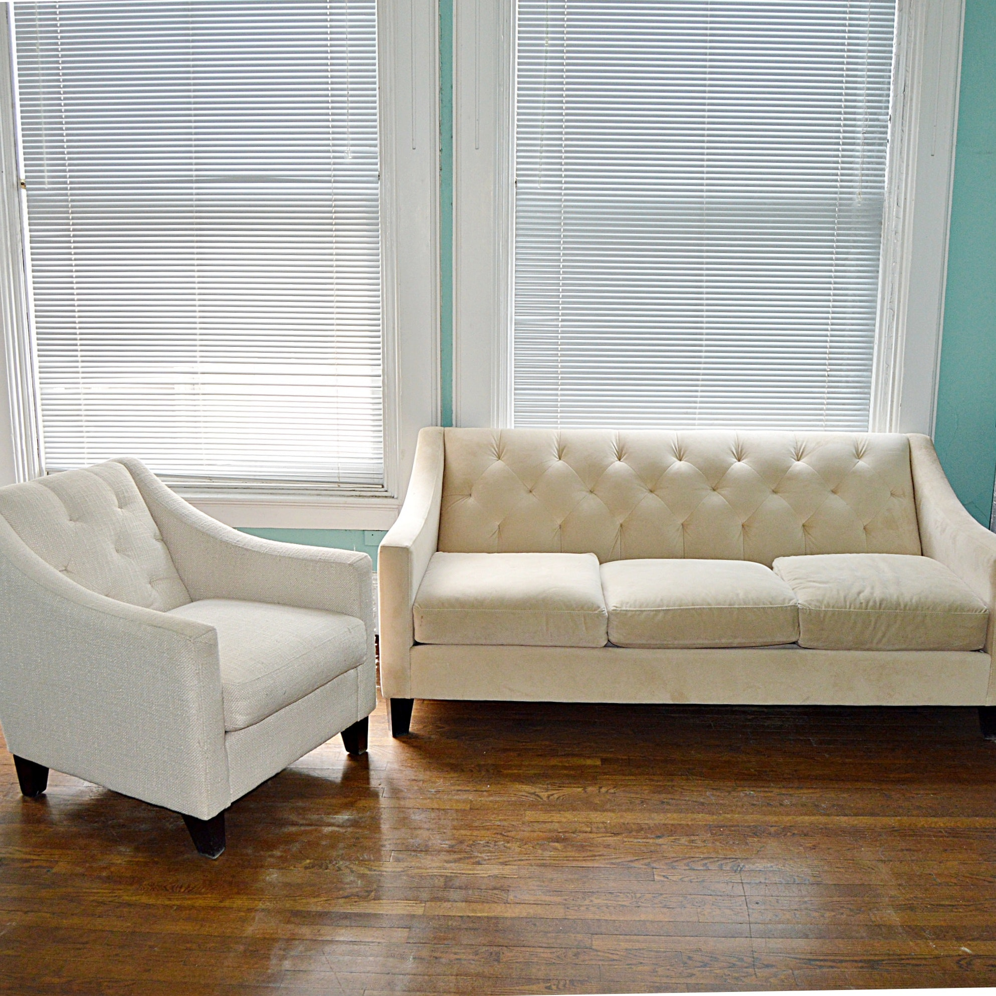 Contemporary Button-Tufted Sofa and Armchair