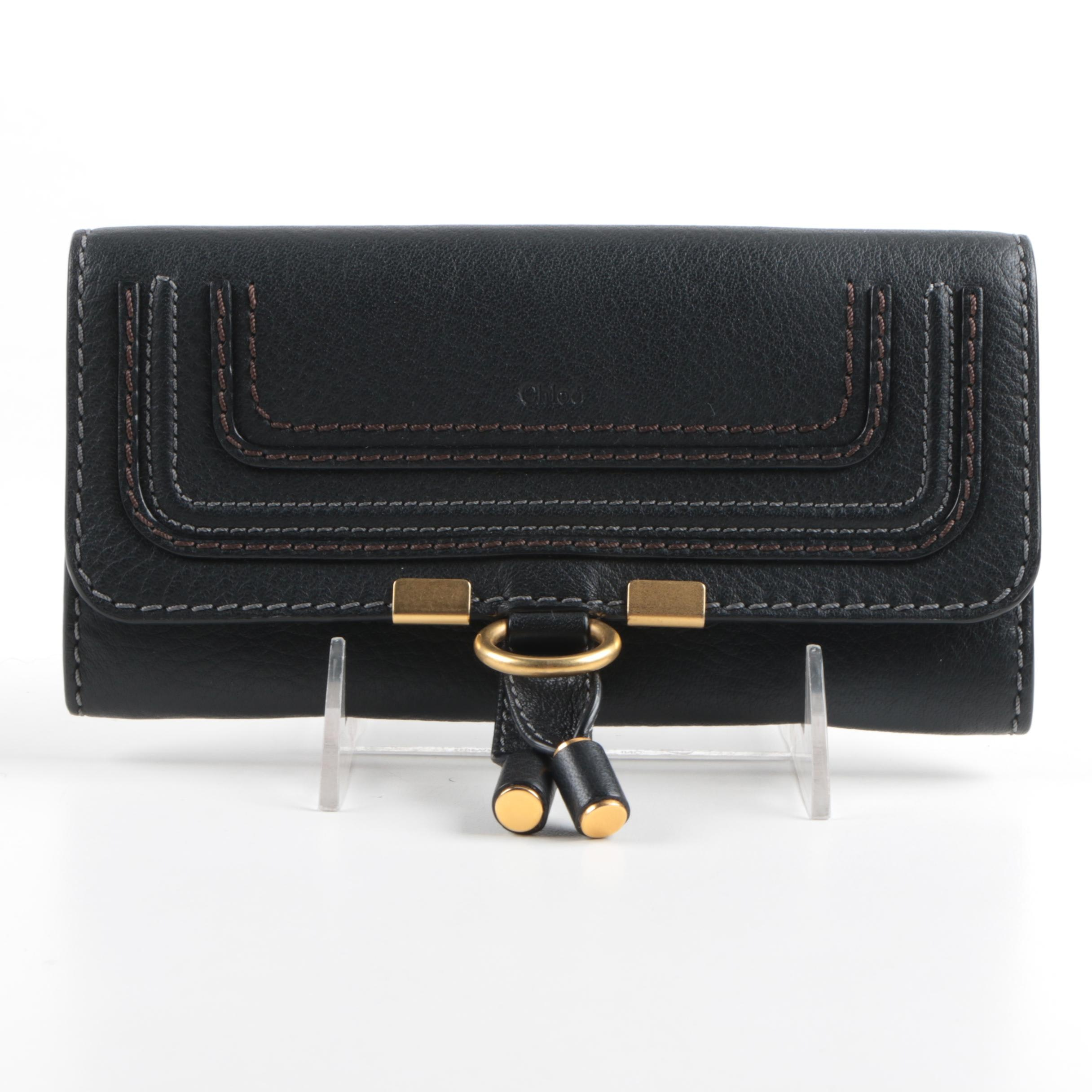 Chloé Pebbled Leather Clutch Wallet