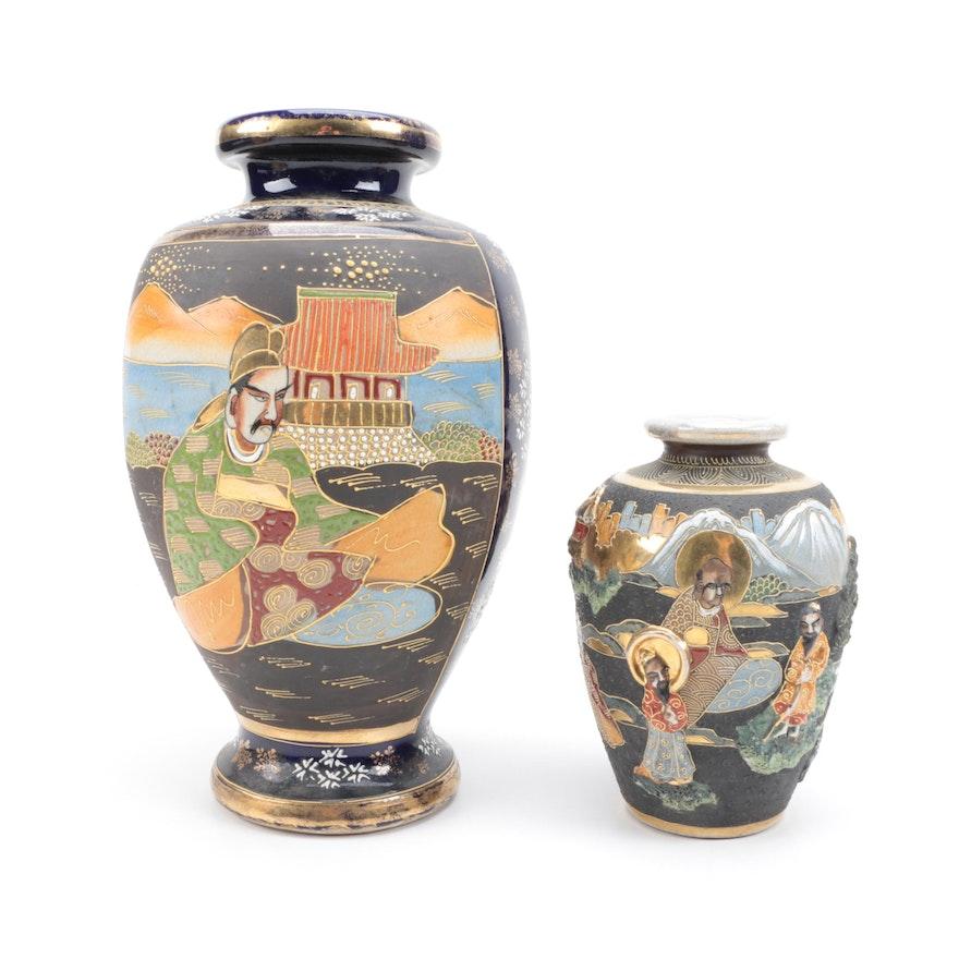 Pair Of Satsuma Style Japanese Vases Ebth