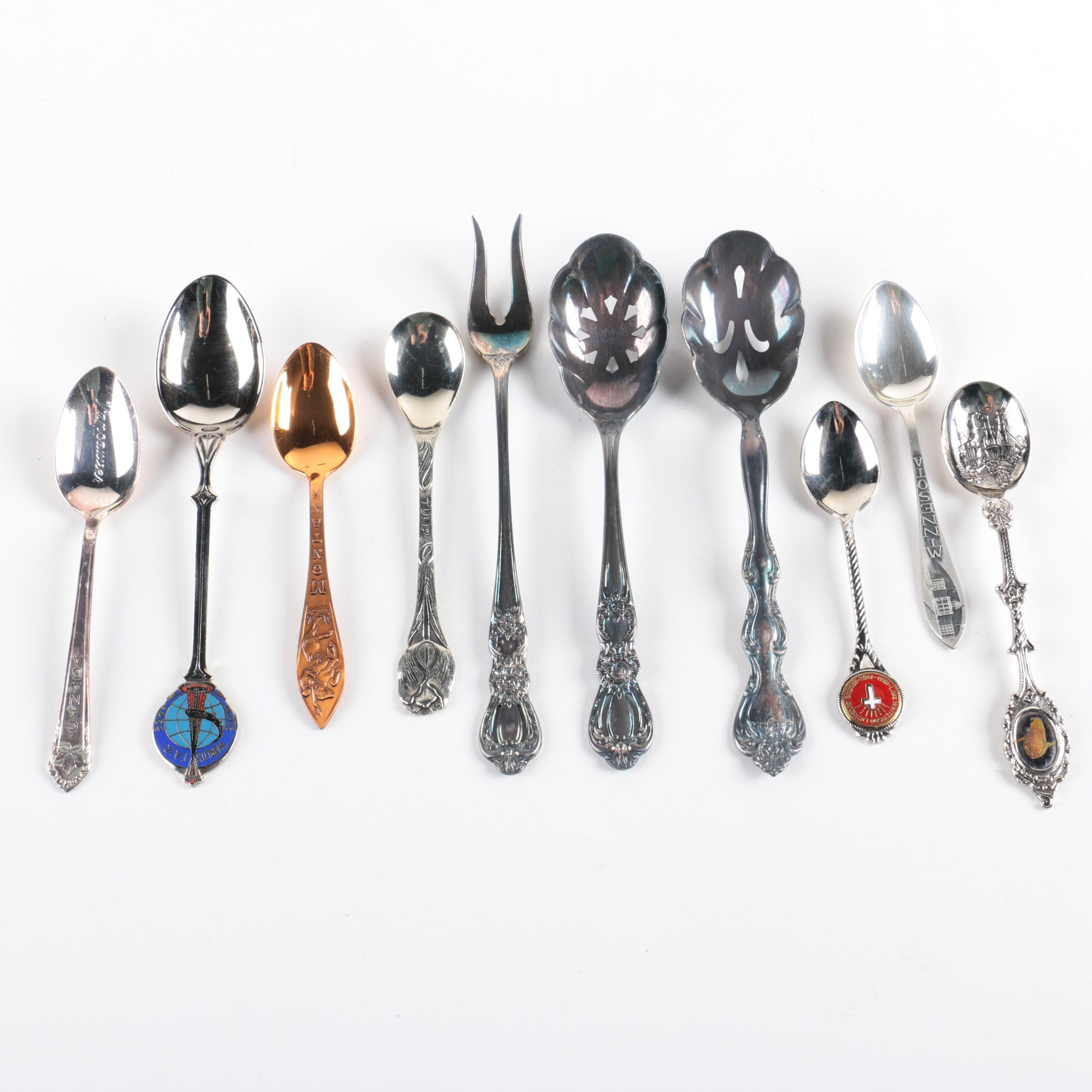 The Robbins Co. Sterling Souvenir Spoon with Silver-Plated and Metal Spoons