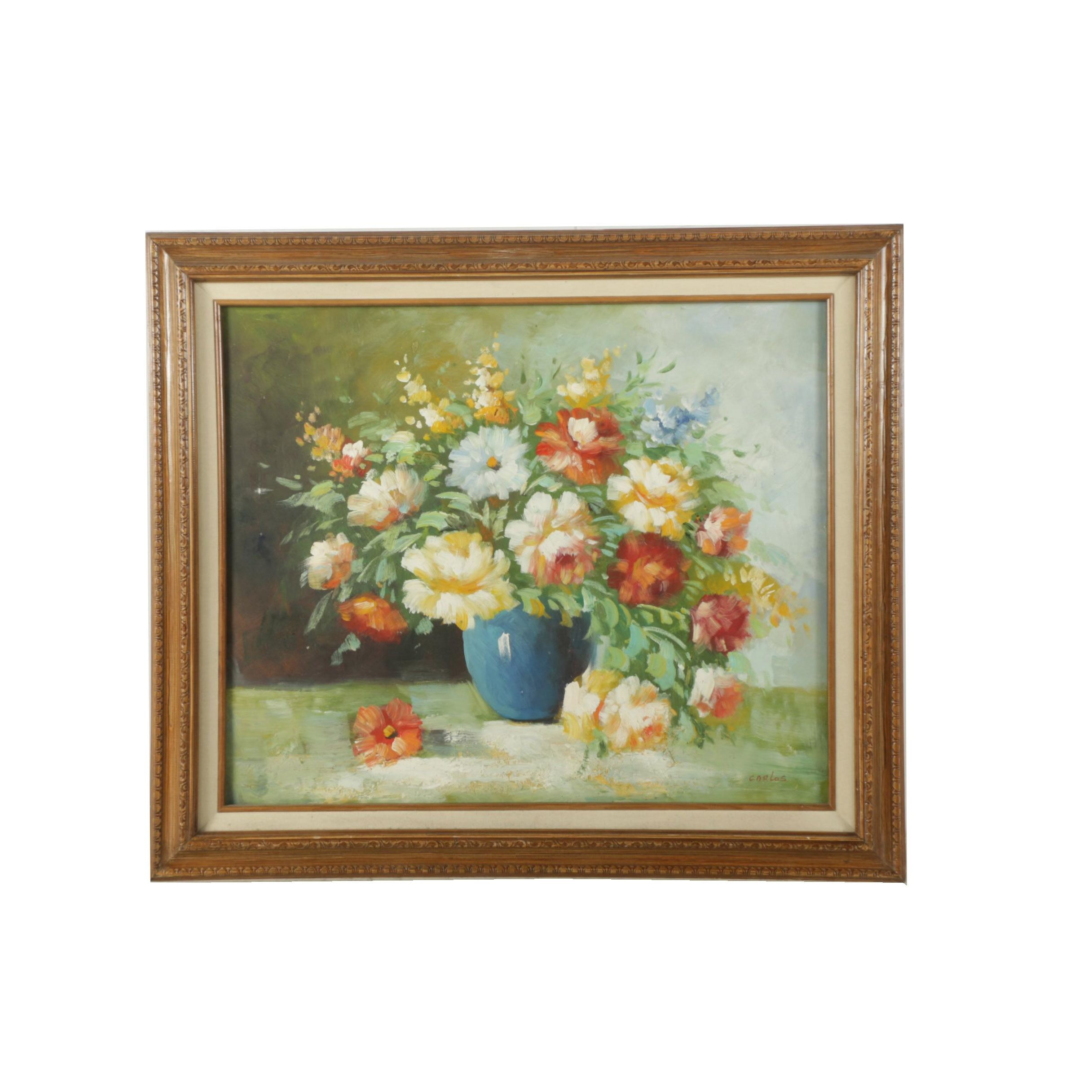 Carlos Oil Painting on Canvas of Floral Still Life
