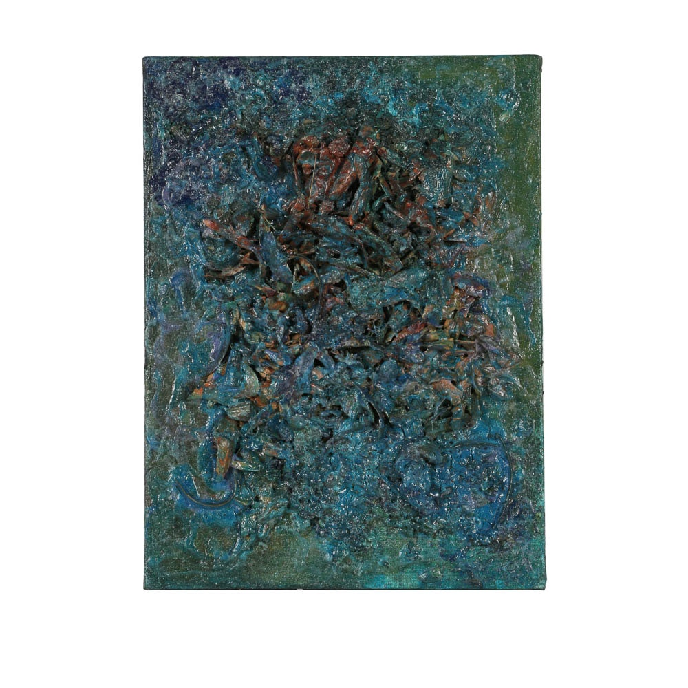 Louis Papp Abstract Mixed Media Painting on Burlap