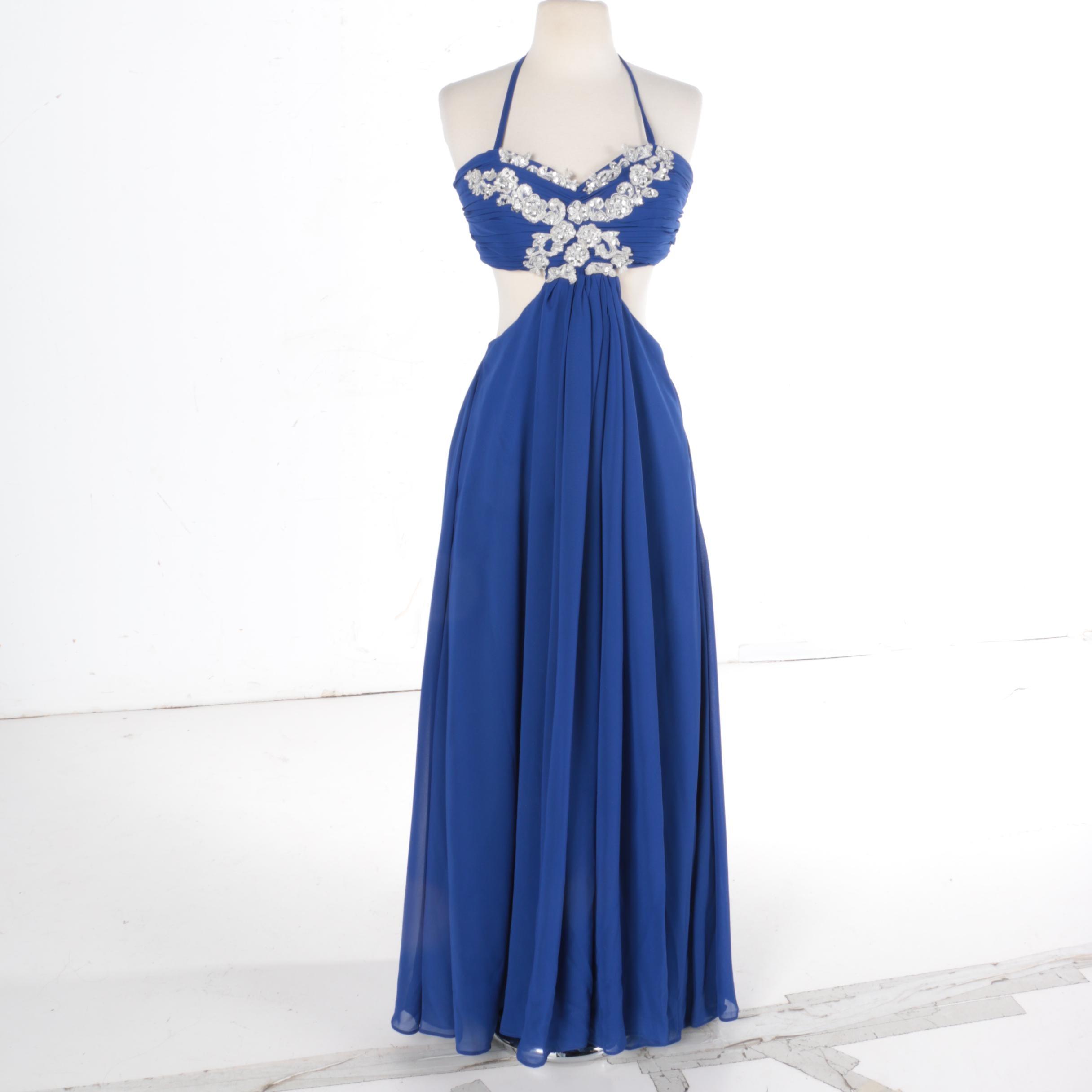 Women's Blue Crepe de Chine Halter Gown