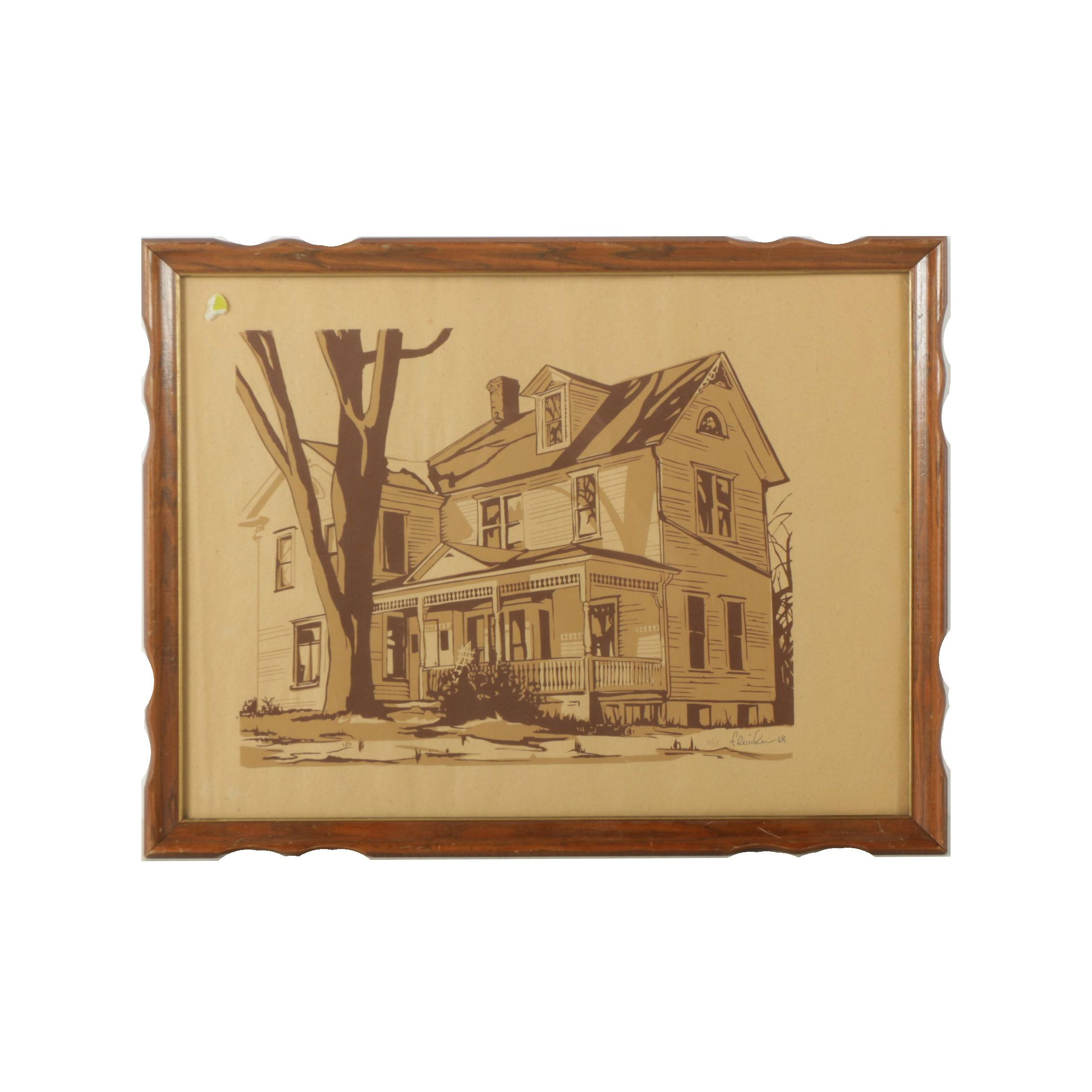 Fleischer Limited Edition Serigraph on Paper of a House