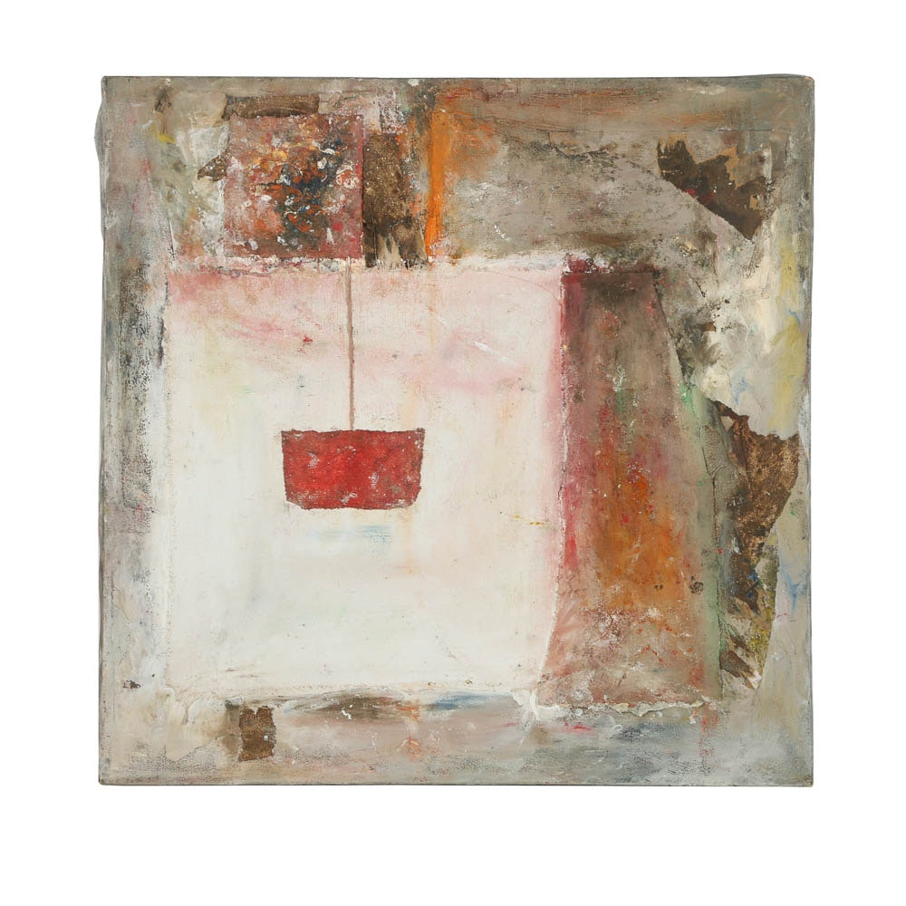 Louis Papp Mixed Media Painting on Canvas Abstract Scene