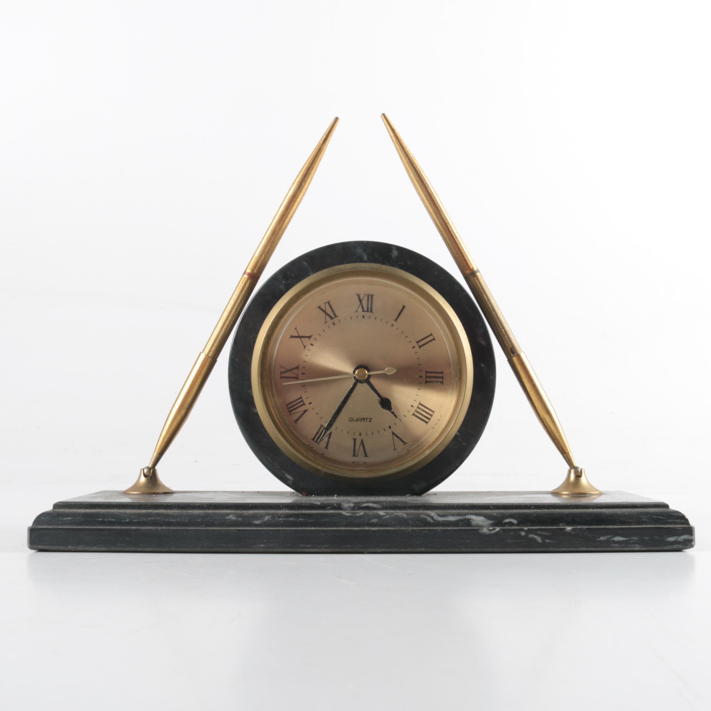 Desk Clock and Pen Holder