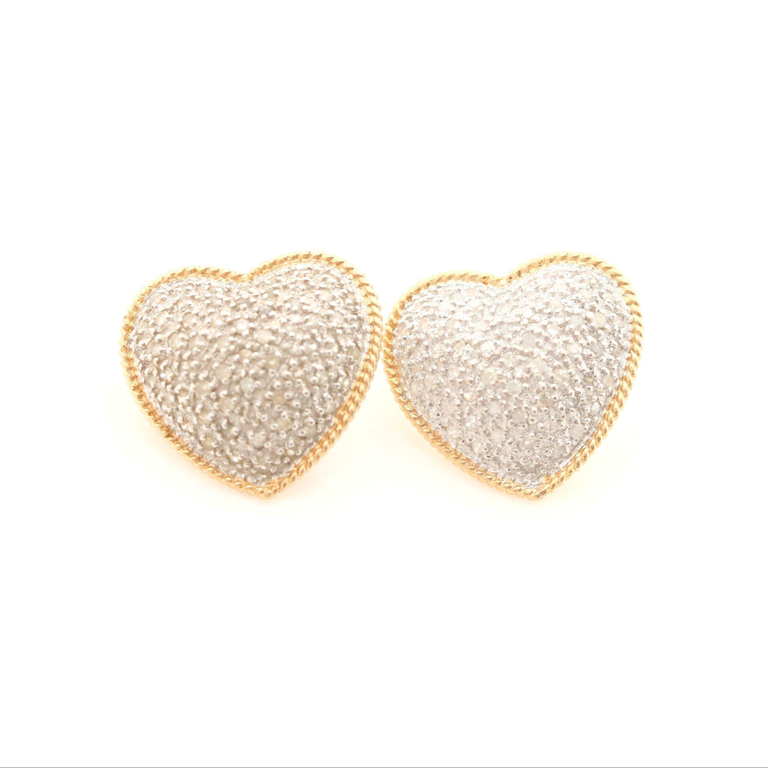 14K White and Yellow Gold Diamond Heart Earrings